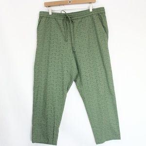 J Crew Eyelet Pants Large Straight Leg Pockets